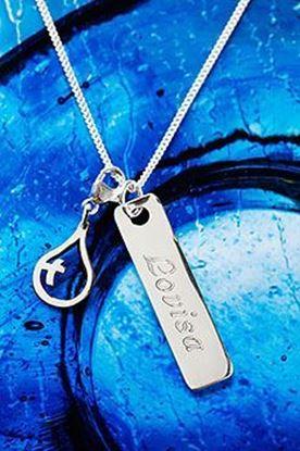 Bild på Hängsmycke droppe och namnbricka i silver