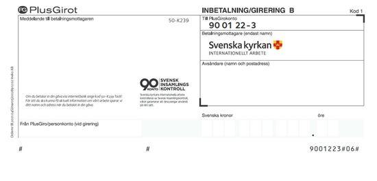 Bild på Inbetalningskort B med gåvoplusgiro