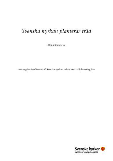 Bild på Iläggsblad till Trädplantering, Internationellt arbete