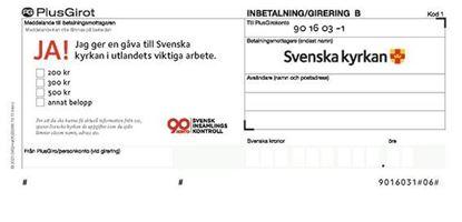 Bild på Inbetalningskort B-avi för Svenska kyrkan i utlandet