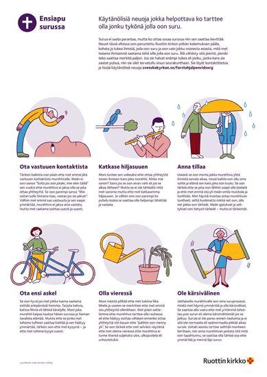 Bild på Affisch. Första hjälpen vid sorg. MEÄNKIELI. PDF.
