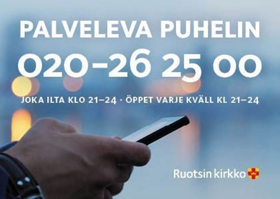 Bild på Sverigefinska telefonjouren. Flyer i vykortsformat. Nedladdningsbar.