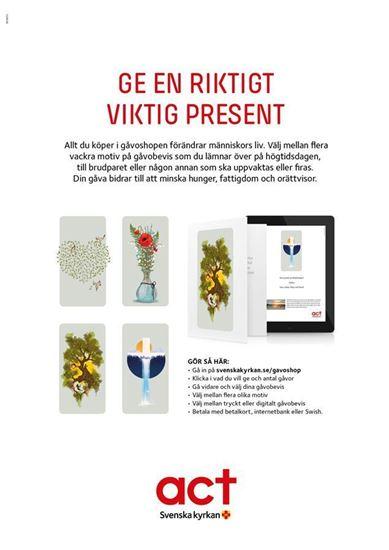 Bild på Gåvoshop, affisch A3. Act Svenska kyrkan