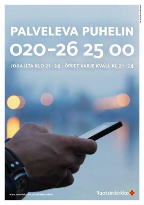 Bild på Sverigefinska telefonjouren. Affisch A4 nedladdningsbar