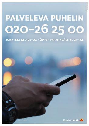 Bild på Sverigefinska telefonjouren. Affisch i A3 nedladdningsbar.