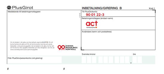 Bild på Inbetalningskort  B med gåvoplusgiro.