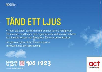 Bild på Ljusbärarskylt liggande. Act Svenska kyrkan