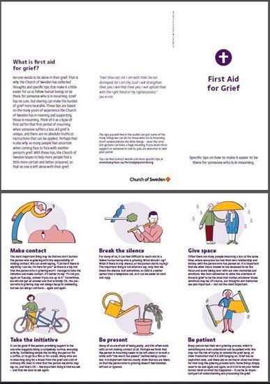 Bild på Folder. Första hjälpen vid sorg. ENGELSKA. PDF.