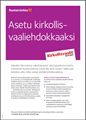 Bild på KV21. Ställ upp i kyrkovalet. Informationsblad. PDF. Finska.
