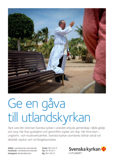 Bild på Ge en gåva till Svenska kyrkan i utlandet - A4 (pdf)