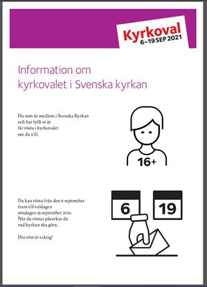 Bild på Information om kyrkovalet i Svenska kyrkan. Stor text. PDF. Länk till mallverktyget.