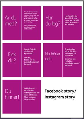Bild på KV21. Lila textbilder, Facebook Händelser, Instagram Stories, stående digital skärm. Länk mallverktyget.